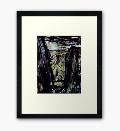 above storm brewing.... down in the gorge a figure waiting Framed Print