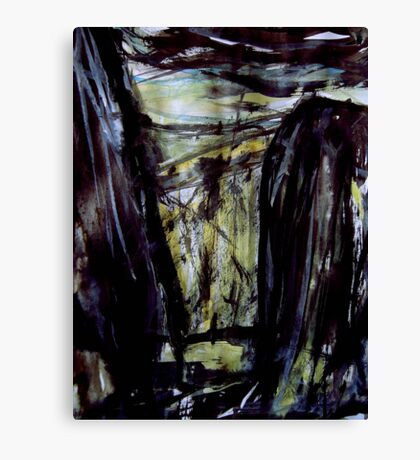 above storm brewing.... down in the gorge a figure waiting Canvas Print