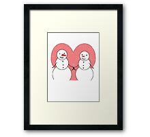 Cute Cartoon Snowmen Sweethearts Framed Print
