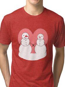 Cute Cartoon Snowmen Sweethearts Tri-blend T-Shirt