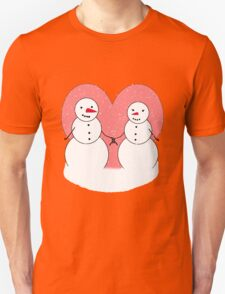 Cute Cartoon Snowmen Sweethearts Unisex T-Shirt