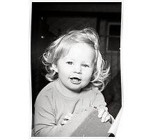 Abbie 2012 (black and white) with block laughing 2 (crop) Poster