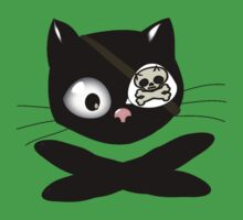 Pirate Kitty with Eye Patch One Piece - Short Sleeve