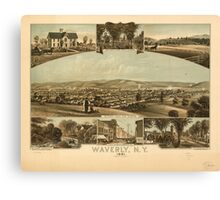 Panoramic Maps Waverly NY 1881 Canvas Print