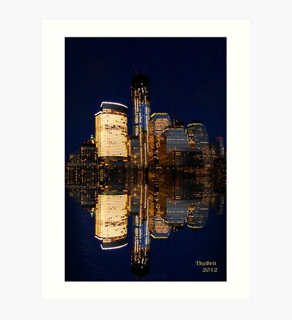 Reflections of The Freedom Tower and down town Manhattan Art Print