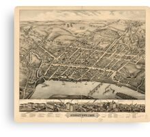 Panoramic Maps Middletown Conn 1877 Canvas Print