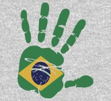 Hand print of flag of Brazil by nadil