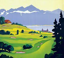 Golf Lausanne Switzerland Travel Advertisement by ukedward