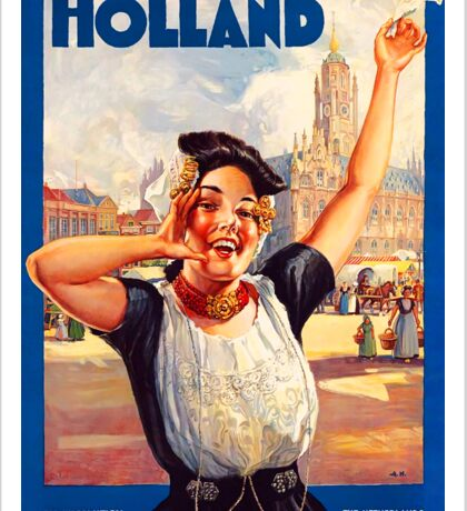 Holland Dutch Girl Vintage Travel Advertisement Sticker