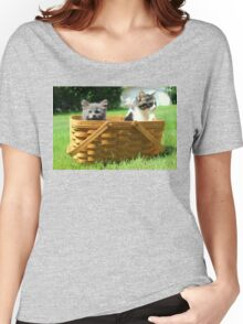 Mischievous Kittens in a Basket Women's Relaxed Fit T-Shirt