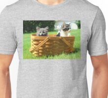 Mischievous Kittens in a Basket Unisex T-Shirt