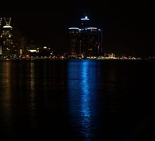 Detroit Night Skyline Reflections - 1 by Barry W  King
