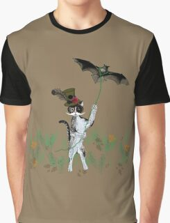 Steampunk Kitty Flying A Bat Graphic T-Shirt
