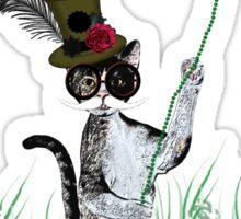 Steampunk Kitty Flying A Bat Sticker