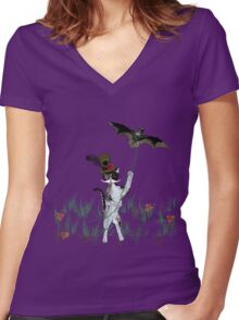 Steampunk Kitty Flying A Bat Women's Fitted V-Neck T-Shirt
