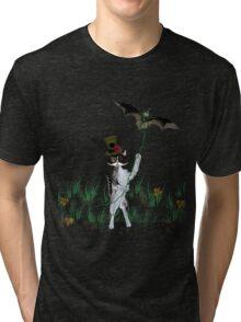 Steampunk Kitty Flying A Bat Tri-blend T-Shirt