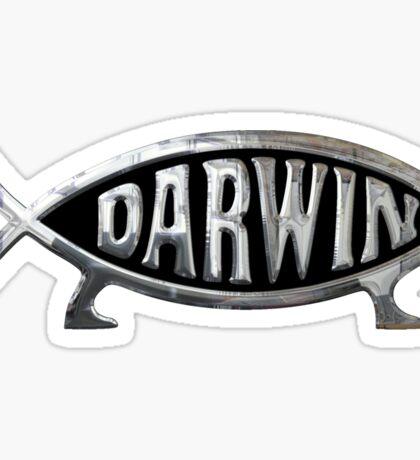 Darwin Fish Chrome Silver Sticker Sticker