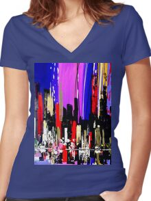 2803 Abstract City Landscape Painting Women's Fitted V-Neck T-Shirt