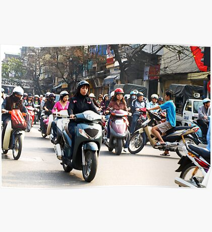 Wrong Way - Hanoi traffic, North Vietnam Poster