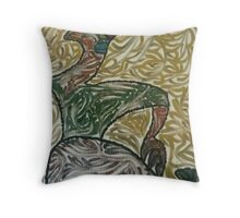 A woman sitting  Throw Pillow