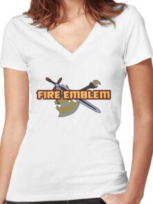 BLAZING SWORD   Fire Emblem Titles Women's Fitted V-Neck T-Shirt