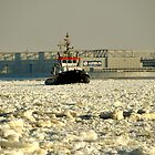 Tug boat fighting through ice by Domenic Herberz