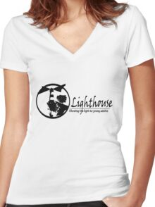 Lighthouse Youth Group Black Letters Women's Fitted V-Neck T-Shirt