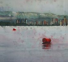 Floating barrels, watercolor and mixed media on paper by Sandrine Pelissier