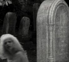 Ghostly Girl By Her Grave, Sleepy Hollow Cemetery Sticker