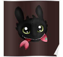How To Train Your Dragon Toothless Eating Salmon Poster