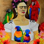 Frida Kalho and Her Parrots by bohemianartist