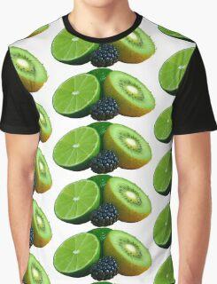Lime Kiwi Fruit Blackberry Graphic T-Shirt