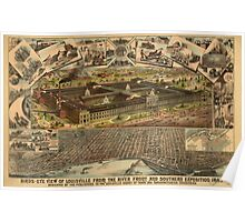 Panoramic Maps Birds-eye view of Louisville from the river front and Southern Exposition 1883 Poster