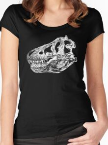Dinosaur: T-Rex - White Ink Women's Fitted Scoop T-Shirt