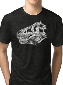 Dinosaur: T-Rex - White Ink Tri-blend T-Shirt