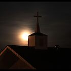 Moon over Church by G. Cobble