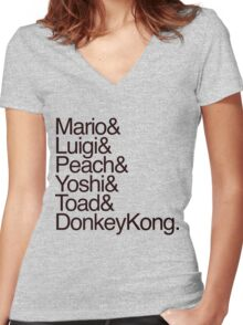 Mario + Co. List Shirt (Black Text) Women's Fitted V-Neck T-Shirt
