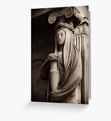 neo-classical caryatid with urn Greeting Card