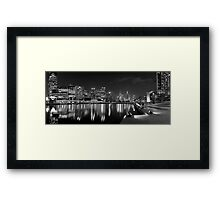 Panorama of Melbourne from Southbank, monochrome Framed Print