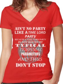 Time Lord Party Women's Fitted V-Neck T-Shirt