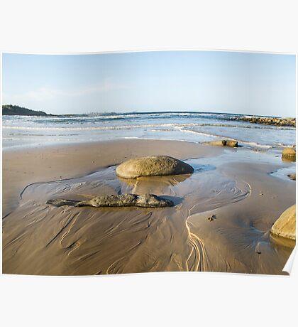 sea, rocks and sand  Poster