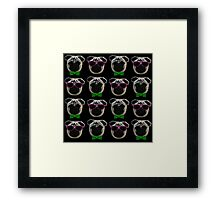 """Cool Pugs"" pink/green Framed Print"