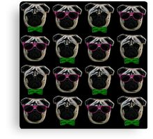 """Cool Pugs"" pink/green Canvas Print"