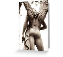 grecian angel in the garden of time Greeting Card