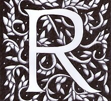 William Morris Inspired Letter R# 2  by Donna Huntriss