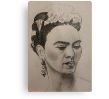 Frida Kahlo Ribbon and Flowers Metal Print