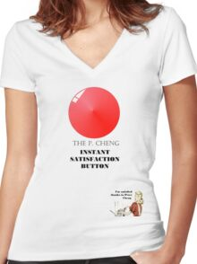 THE P.CHENG INSTANT SATISFACTION BUTTON Women's Fitted V-Neck T-Shirt