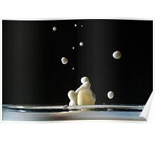 Drop of milk splashing in a glass. Poster
