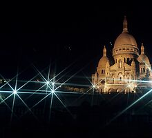Sacre Coeur lit up at night with flood lights, Paris by Sami Sarkis