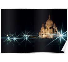 Sacre Coeur lit up at night with flood lights, Paris Poster